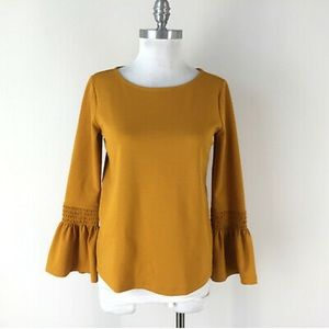 Ann Taylor Mustard Yellow Bell / Puff Sleeve Top